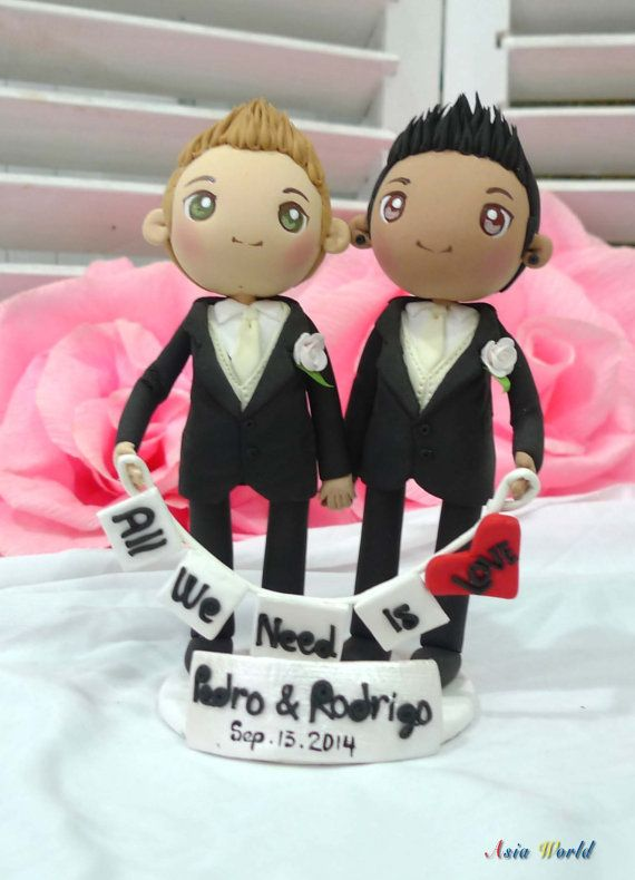 Gay Wedding Cake topper clay dollAll we need is love by AsiaWorld