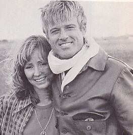 Robert Redford and then-wife Lola Van Wagenen on the set of The Great Waldo Pepper (1975).