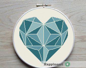 3 modelli di cuore geometrico moderno punto croce di Happinesst