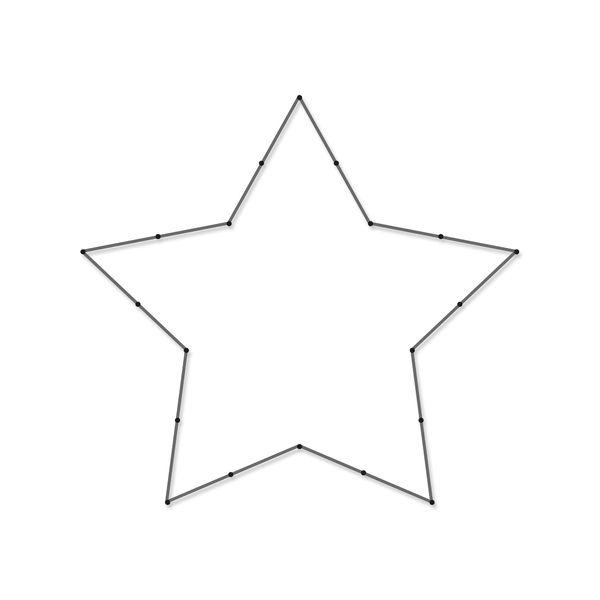 Spijkerpatroon ster. Patroonvel, spijkers en touw voor een mooi kunstwerk aan je muur.