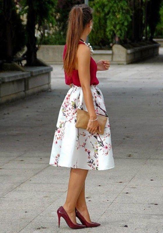 red shirt white skirt