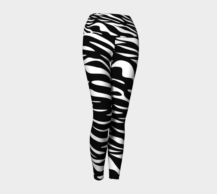 "Yoga+Leggings+""Zebra+Stripes-Horizontal""+by+Judy+E+Huck"