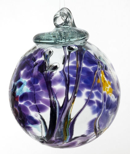 Kitras hand blown art glass ornament spirit ball multi