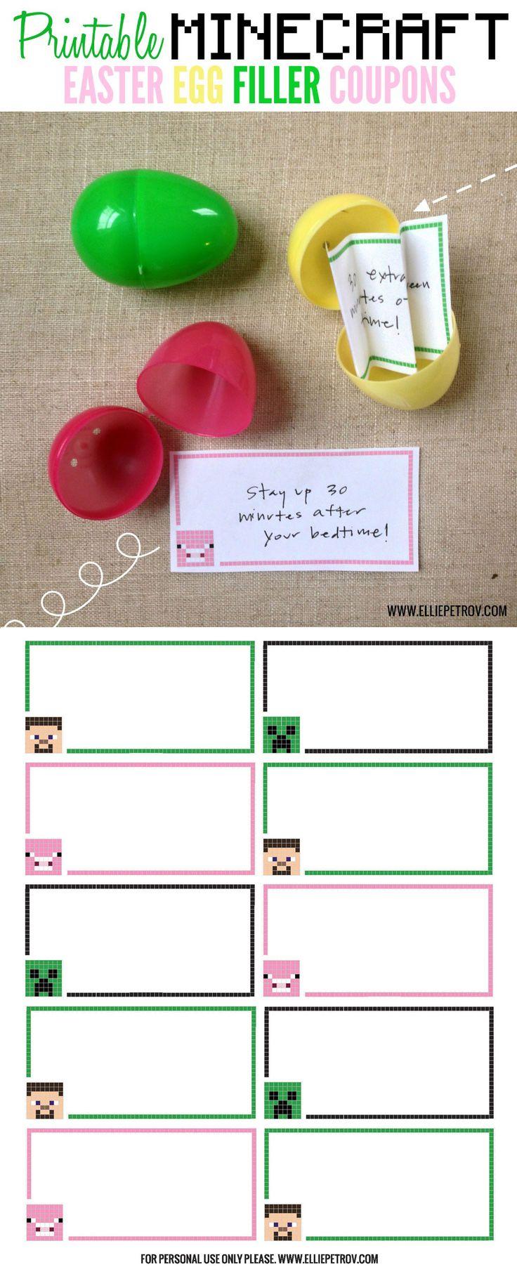 Printable Minecraft Easter Egg Filler Coupons