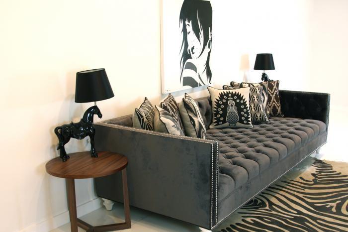 tufted deep sofa in charcoal velvet $2395.00