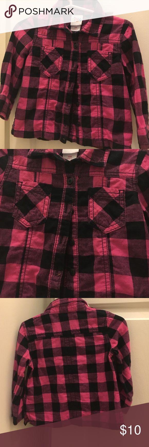 Pink and Black Plaid Shirt gently used adorable girls plaid shirt 12M Circo Tops Button Down Shirts