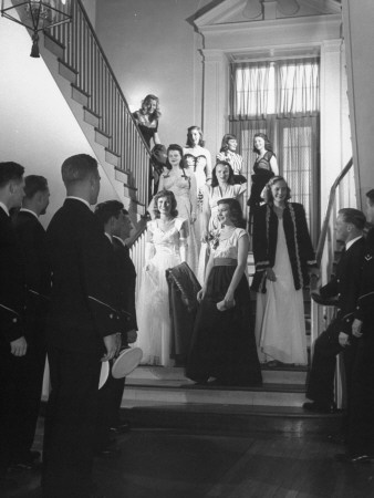 Girls from Connecticut College Being Picked Up by Boys from Coast Guard Academy for Formal Dance