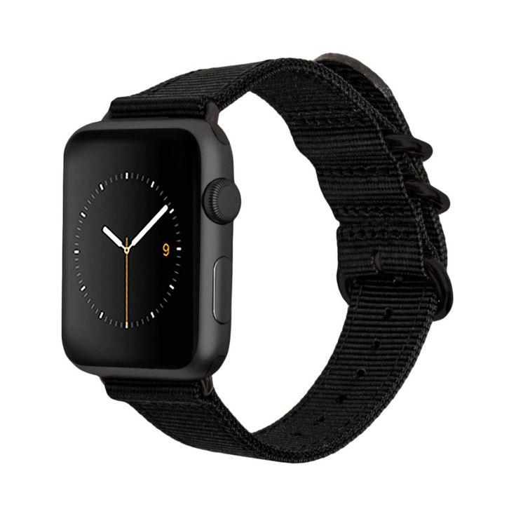 Monowear Black Nylon Band with Dark Gray Stainless Steel Adapter For 42Mm Apple Watch Sport - Black ( 8132149 ), Adult Unisex