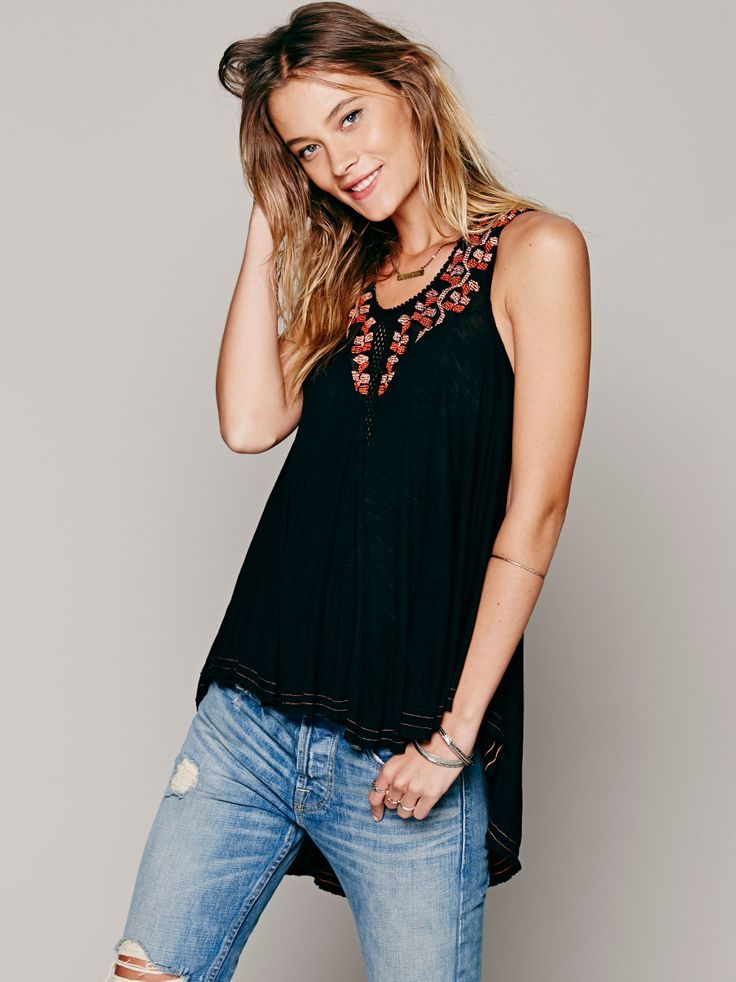 Free People Key Hole Embroidered Top