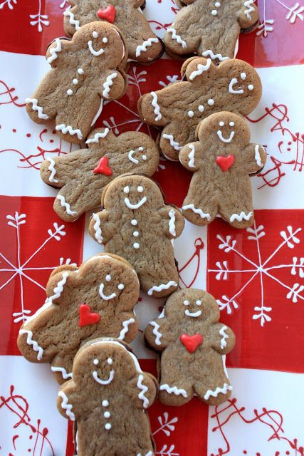 Gingerbread Men Sandwich Cookies @KatrinasKitchen