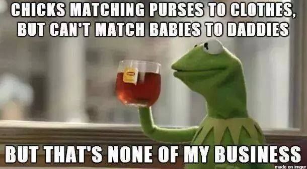Matching Purses to clothes, but not babies to daddies... LOL