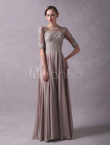665f73acae Wedding Guest Dresses Lace Applique Chiffon Mother Of The Bride Dress Half  Sleeve Illusion Floor Length Wedding Party Dresses - Milanoo.com