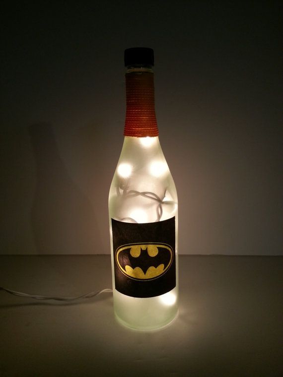 Upcycled Lighted Wine Bottle with Batman Decorations