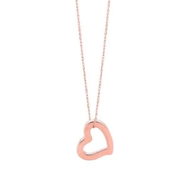 "Argo & Lehne Jewelers simple rose gold Heart Necklace. A simple 18"" chain with elegant heart at a great price, $160. also available in yellow gold!"