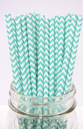 Aqua Chevron Paper straws for a Tiffany Party at www.littledanceinvitations.com.au http://www.littledanceinvitations.com.au/Products/Paper-Straws---Chevron-Aqua?productcategory=25803&productsubcategory=25805
