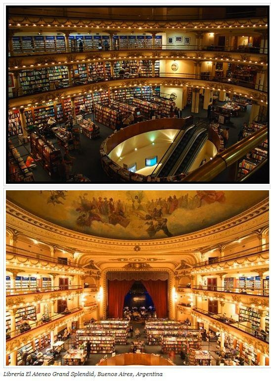 """Would LOVE to go to this bookstore!  Found this at The Book Connections on facebook. Here's what they said about it, """"Bueno Aires's Librería El Ateneo Grand Splendid in Argentina is one of the most beautiful bookstores in the world. We are going to post beautiful bookstores and library from time to time. This particular bookstore was formerly a 1920 movie theater or palace. I can sometimes spend several hours in a bookstore. How about you?"""""""