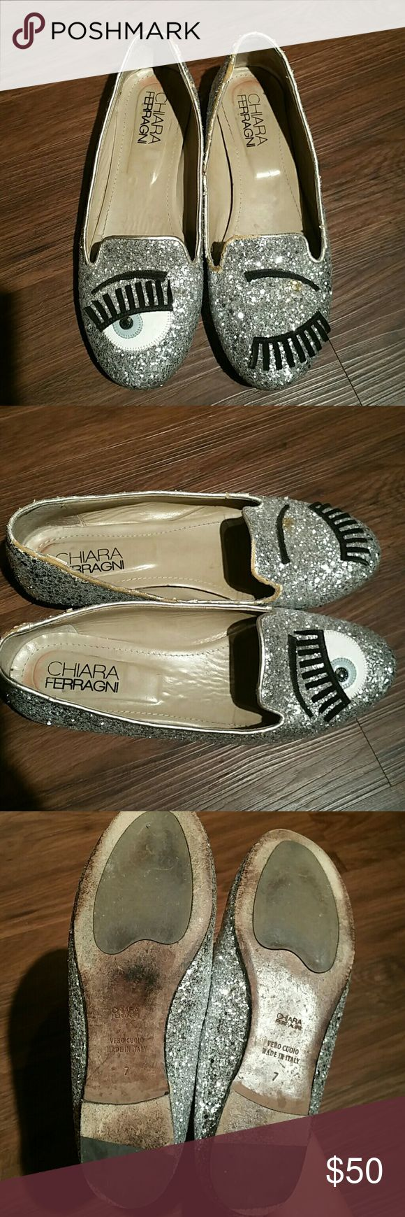Chiara Ferragni Eye Bling Silver Sparkle Flats US7 Authentic Used Chiara Ferragni Flats US7, no trade, please see pictires for condition Chiara Ferragni Shoes Flats & Loafers