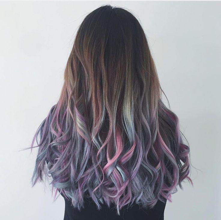 Пряди у лица фиолетовый, розовый, морская волна