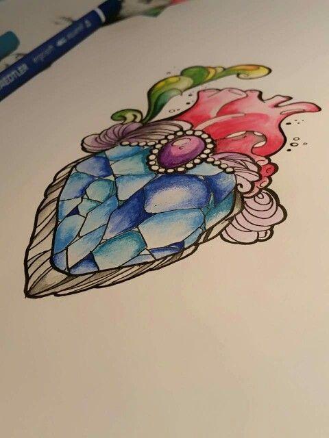 Heart jewel tatoo