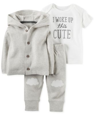 Carter's Baby Boys' or Baby Girls' 3-Piece Little Lamb Cardigan, T-Shirt