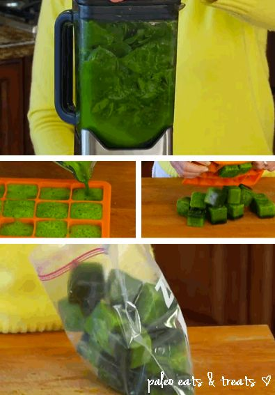 Make frozen Spinach cubes for your healthy shakes in the morning. All you need is a large blender or food processor and some silicone ice cube trays.