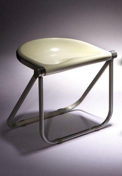 Giancarlo Piretti; Aluminum and Plastic 'Plona' Folding Stool for Castelli, 1970.