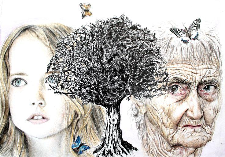 Elaborato sul tema dell'albero.Tecnica : matite colorate e china su carta. Alunna: Sara Verona 1B. A.S. 2015/16 Liceo artistico Stagio Stagi Pietrasanta