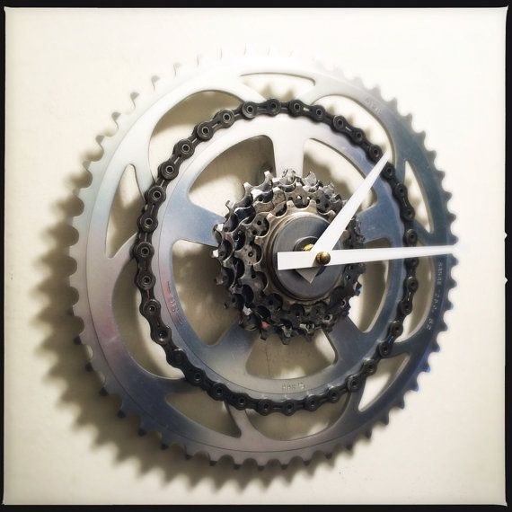 Recycled Bike Gears & Chain Wall Clock by DreamGreatDreams on Etsy, $65.00