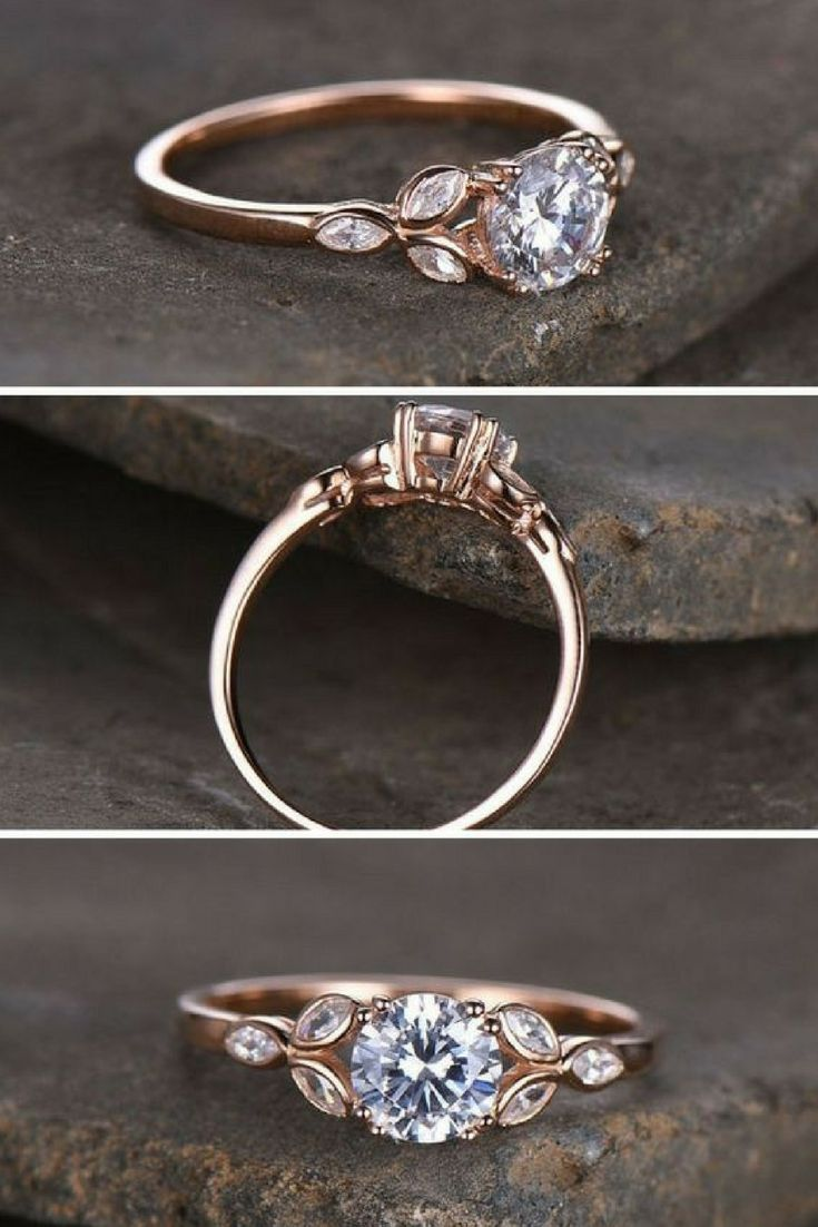 Sterling silver ring/Round cut Cubic Zirconia engagement ring/CZ wedding ring/Three flower marquise/promise ring/Xmas gift/Rose gold plated