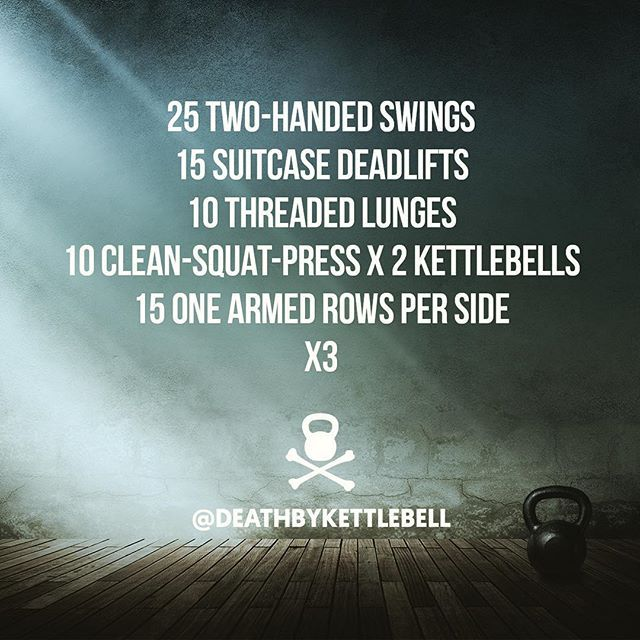 ⚫ Here's a challenging full-body kettlebell workout for you to try:  25 Two-handed swings 15 Suitcase deadlifts 10 Threaded lunges 10 Clean-squat-press x 2 kettlebells 15 One armed rows per side x3  Always use kettlebells sized appropriate to your strength and fitness level. Be sure to practice form with a skilled kettlebell trainer BEFORE incorporating new movements into your routine. ⚫ DOUBLE TAP IF YOU'RE TRAINING WITH KETTLEBELLS Tag a friend who would love @deathbykettlebell!