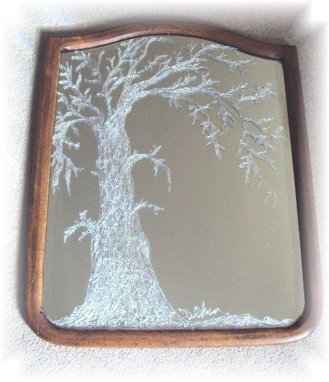 Antique Oak Bevelled Mirror w/Ornate Silver by FromMyDwellingPlace