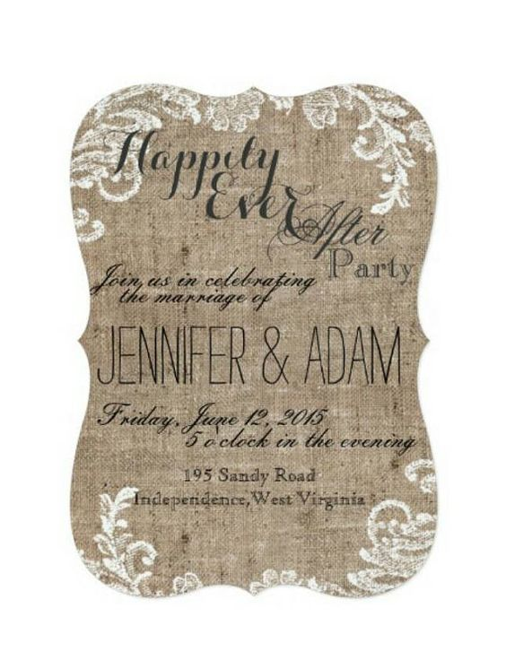 LOVE THIS WORDING Happily Ever After Party Burlap And Lace Themed Rustic Shabby Chic Country Fancy Wedding Reception Only Invitation Scalloped Edges