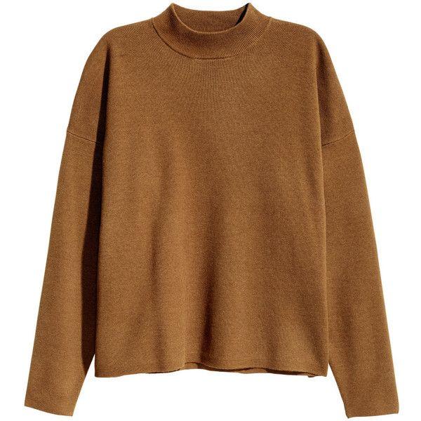 Mock Turtleneck Sweater $29.99 ($30) ❤ liked on Polyvore featuring tops, sweaters, brown turtleneck, mock turtle neck sweater, ribbed sweater, turtleneck sweater and mock sweater