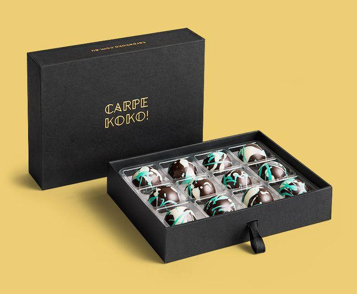 CARPE KOKO! Saffron Sting - 12 piece chocolate gift box. Buy online for delivery Australia wide www.carpekoko.com