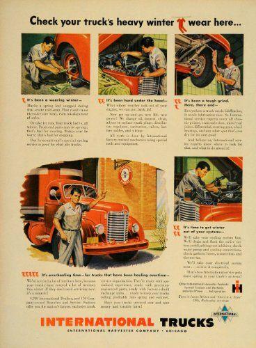 1949 Ad International Truck Mechanic IH Service Chicago - Original Print Ad