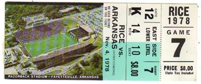 arkansas razorbacks basketball 1978   Details about 1978 Rice vs. Arkansas Razorbacks Football Ticket Stub
