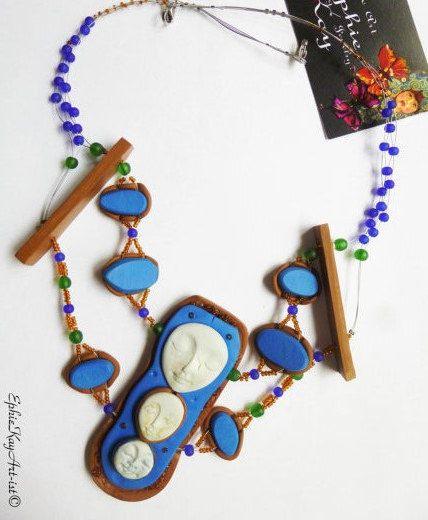 Floating Necklace Cameo Pendant Blue Pendant by EphieKayArtist