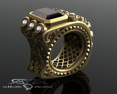 Men's pinky ring in very heavy solid gold 7ct garnet and 1.60+ct in diamond. Must see special engineering. Victorian Gothic Steampunk Gun.