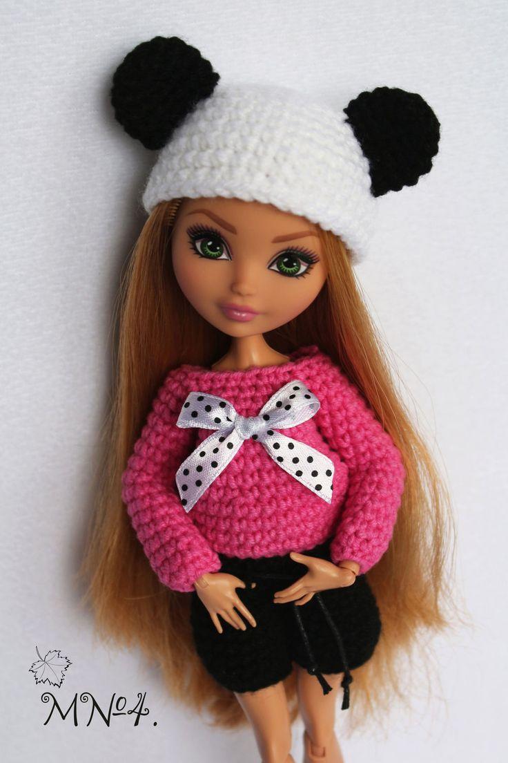 """Купить Комплект для куклы """"Мишка Панда"""". - чёрно-белый, розовый, мишка панда, панда"""