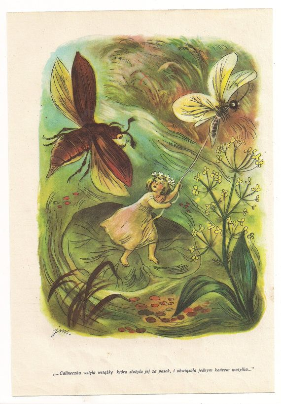 Vintage Book Illustration Thumbelina fairy tale from https://www.etsy.com/listing/116243373/vintage-book-illustration-thumbelina-and