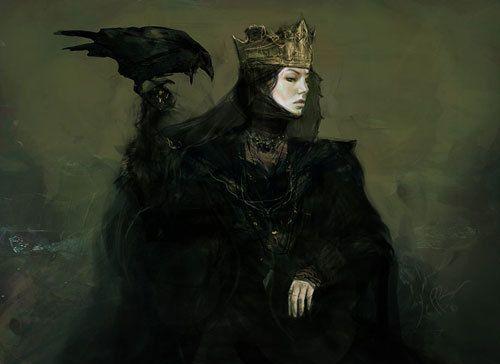 art, crow, dark, evil queen, fantasy, raven