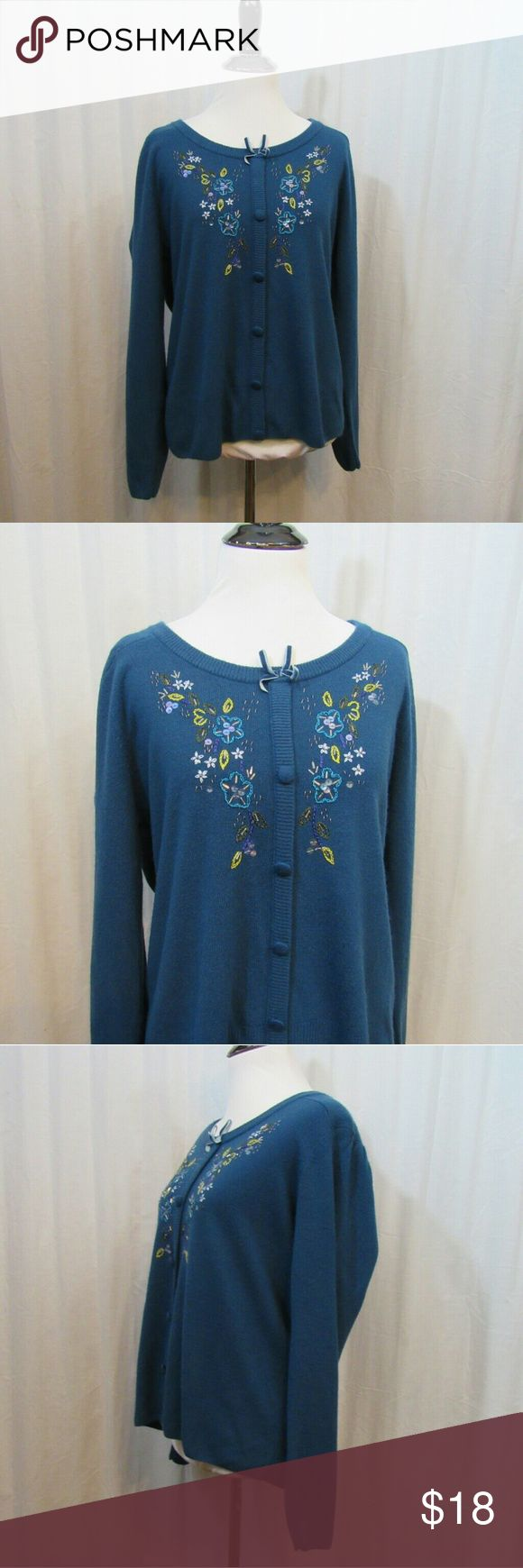 """Sag Harbor Blue Floral Embroidered Light Cardigan Brand: Sag Harbor Size: L Material: 100% Acrylic Care Instructions: Hand Wash  Bust: 42"""" Sleeves: 23"""" Length: 25""""  All clothes are in excellent used condition. No tears, stains or holes unless otherwise I noted.   P127 Sag Harbor Sweaters Cardigans"""