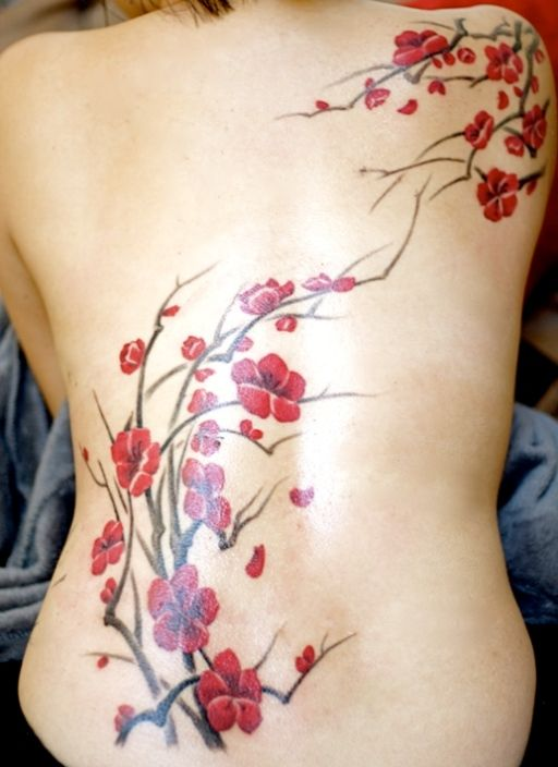 Cherry Blossom Tree and Flowers Tattoo on Back