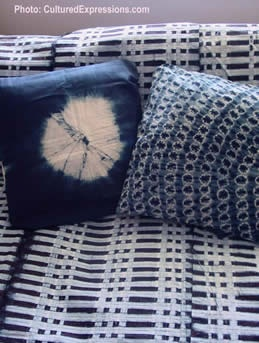 Displaying African Textiles | Discovered broken link when I clicked on image someone pinned, but I like this mix of African adire and Japanese shibori | Indigo + adire + shibori