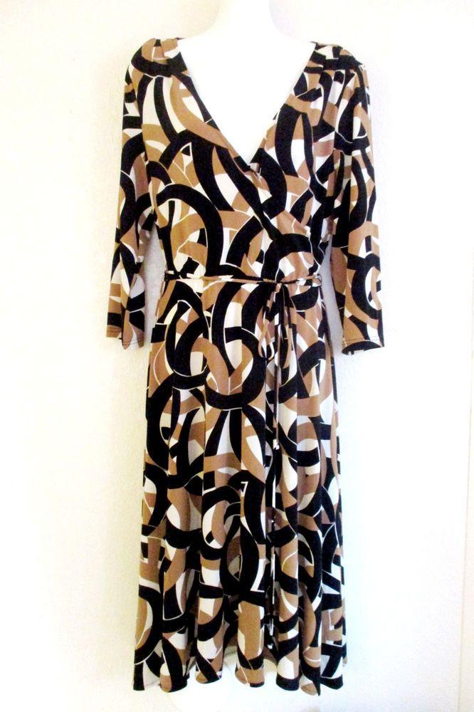 Jessica Howard Womens Wrap Dress Brown/Black/White Print -Stretch Career  Sz 12  #JessicaHoward #WrapDress #WeartoWork