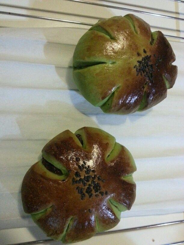 Handmade greentea redbean bun