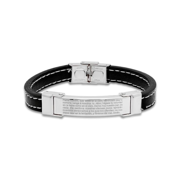 "Steeltime Men's Black ""Padre Nuestro"" Prayer Bracelet with White Rope Line in 2 Colors"
