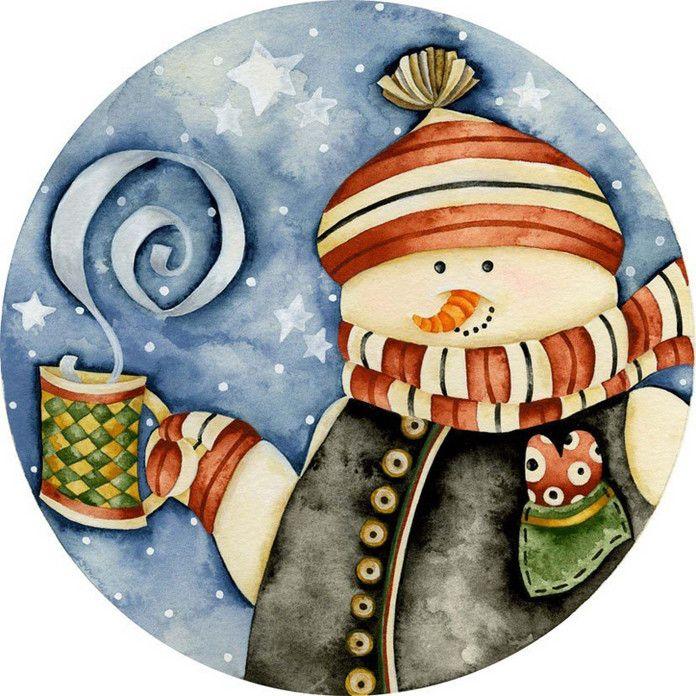 Картинки декупаж снеговик дом