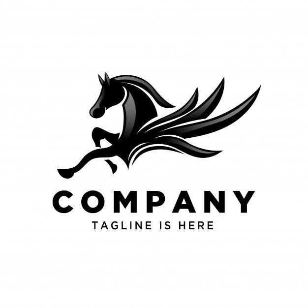 Flying Pegasus Jump Logo Initials Logo Design Pegasus Logos