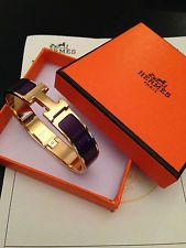 Original Hermes Armband Armreif Bracelet Clic Clac Lila Gold